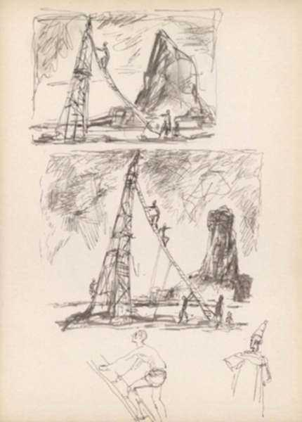 Drawing by Henry C. Pitz: Sketches of Circus Performers Climbing, represented by Childs Gallery