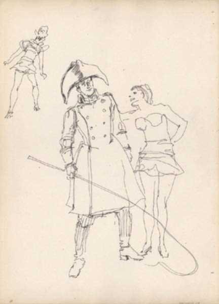 Drawing by Henry C. Pitz: The Ringleader: Sketches of Circus Entertainers (6), represented by Childs Gallery