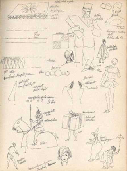 Drawing by Henry C. Pitz: Thumbnail Sketches of Circus Entertainers (2), represented by Childs Gallery