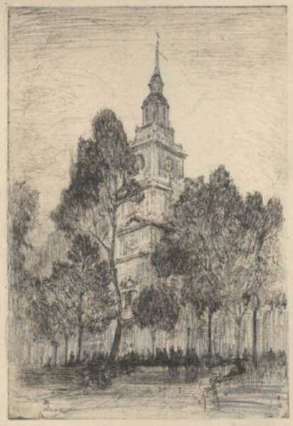 Print by Henry M. O'Connor: Philadelphia [Liberty Hall] [Pennsylvania], represented by Childs Gallery