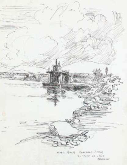 Drawing by Henry M. O'Connor: Tennessee River, Knoxville Tennessee, represented by Childs Gallery