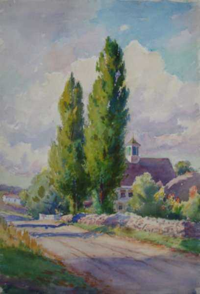 Watercolor by Henry W. Rice: A New England Country Road, represented by Childs Gallery