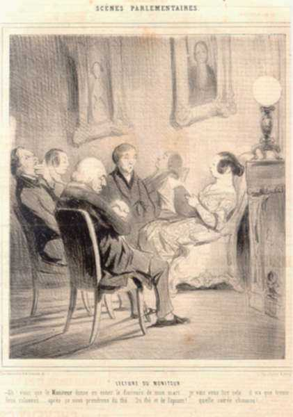 Print by Honore Daumier: Lecture du Moniteur (Reading of the Moniteur), represented by Childs Gallery