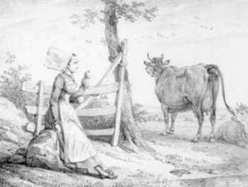 Print by Horace Vernet: Paysanne des environs de Caen gardant les vaches, represented by Childs Gallery