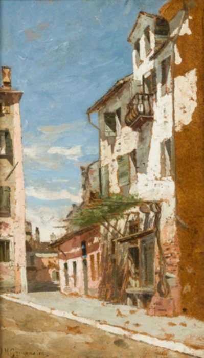 Painting by Ignaz Marcel Gaugengigl: An Italian Street, represented by Childs Gallery