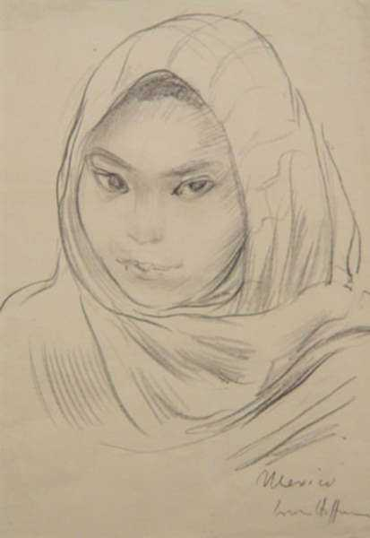 Drawing by Irwin D. Hoffman: [Mexican Girl], represented by Childs Gallery