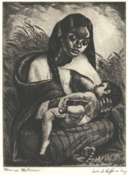 Print by Irwin D. Hoffman: Mexican Mother or Mexican Madonna, represented by Childs Gallery