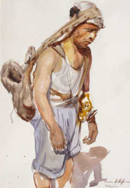 Watercolor by Irwin D. Hoffman: Miner [Mexico], represented by Childs Gallery