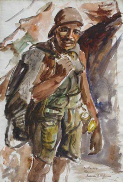 Watercolor by Irwin D. Hoffman: Miner, Santa Barbara, Mexico, represented by Childs Gallery