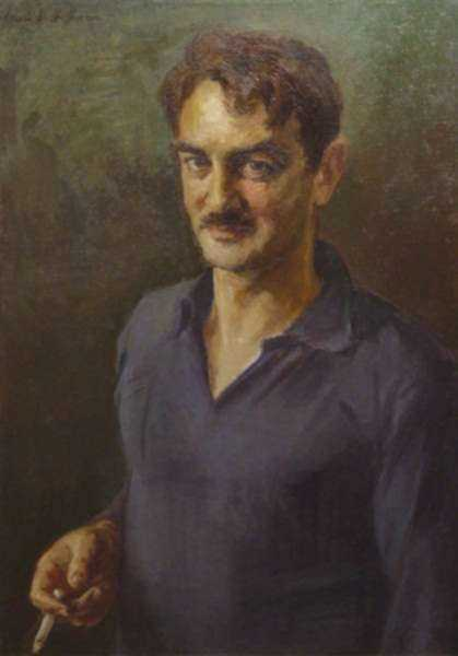 Painting by Irwin D. Hoffman: Self-Portrait, represented by Childs Gallery