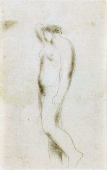 Drawing by Isamu Noguchi: Standing Nude, represented by Childs Gallery