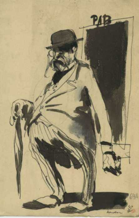 Drawing by Jacek von Henneberg: Man with Umbrella, London, represented by Childs Gallery