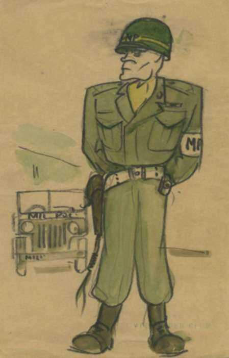 Watercolor by Jacek von Henneberg: Military Policeman, represented by Childs Gallery