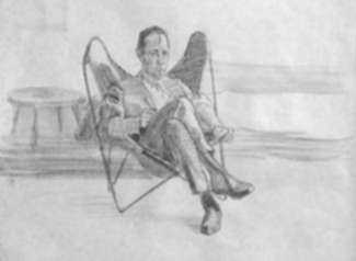 Drawing by Jack Kramer: [Butterfly Chair], represented by Childs Gallery