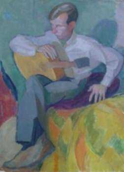 Painting by Jack Kramer: The Guitar Player II, represented by Childs Gallery
