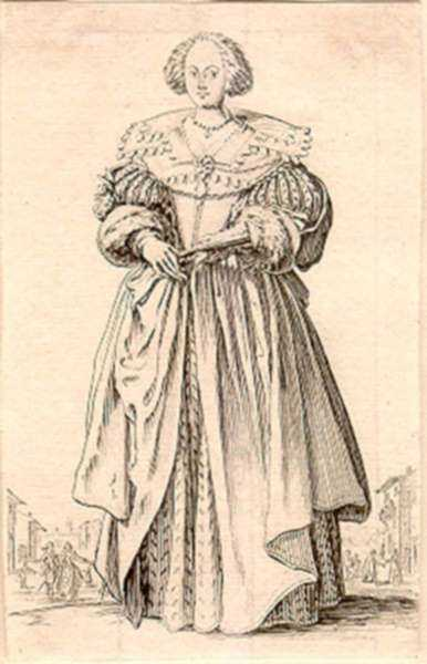 Print by Jacques Callot: La Noblesse [Lady with fan], represented by Childs Gallery