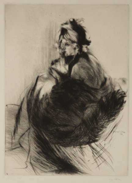 Print by Jacques Villon: Chapeau 1830 or Le Chapeau de Grand-Mère, represented by Childs Gallery