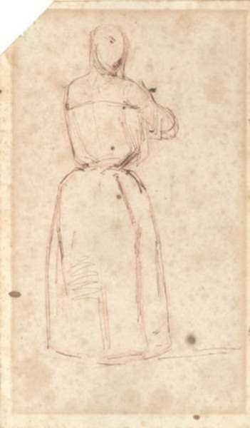 Drawing by James Abbott McNeill Whistler: A Woman in Her Chemise, represented by Childs Gallery