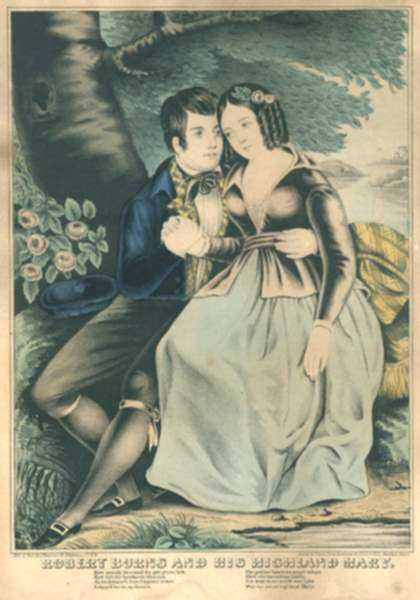 Print by James Baillie: Robert Burns and His Highland Mary, represented by Childs Gallery