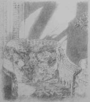 Print by James L. Hendershot: [Wicker Chair], represented by Childs Gallery