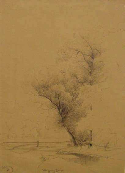 Drawing by James M. Hart: Whippany River, New Jersey, represented by Childs Gallery
