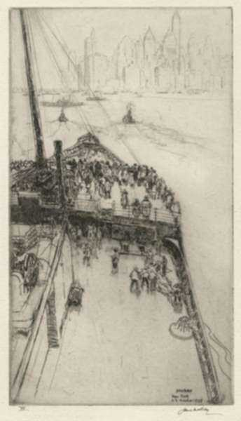 """Print by James McBey: Approaching New York No. 2  [View Onboard """"The Majestic""""], represented by Childs Gallery"""