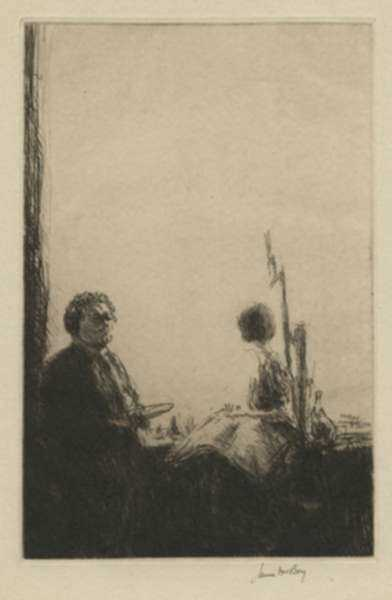 Print by James McBey: Artist and Model, represented by Childs Gallery