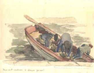 Watercolor by Jan Gelb: Deux cent sardines a chaque panier   , represented by Childs Gallery