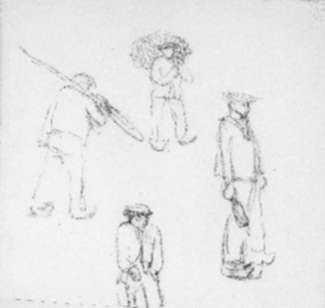 Drawing by Jan Gelb: French fisherman with oar, sack and bottle, represented by Childs Gallery