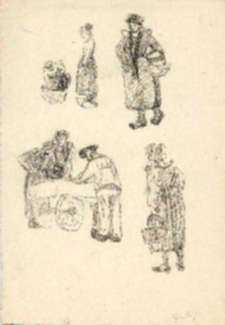Drawing by Jan Gelb: French woman and cart, represented by Childs Gallery