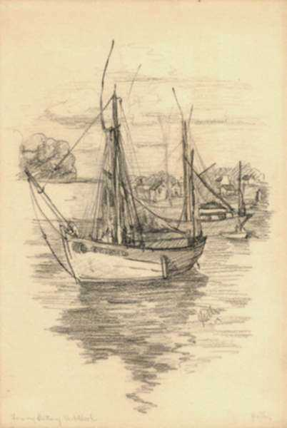Drawing by Jan Gelb: From my Brittany Sketchbook (Sailboat in Harbor), represented by Childs Gallery