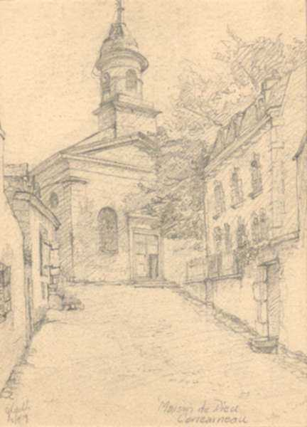 Drawing by Jan Gelb: Maison de Dieu, Concarneau [France] Deux cent sardines a cha, represented by Childs Gallery