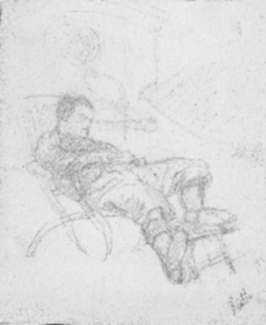 Drawing by Jan Gelb: Man Sleeping on Deck Chair, represented by Childs Gallery