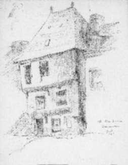 Drawing by Jan Gelb: Old white house, Concarneau, represented by Childs Gallery