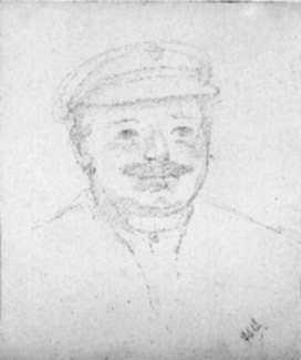 Drawing by Jan Gelb: Portrait of a man with a moustache (France), represented by Childs Gallery