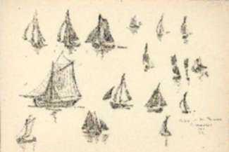 Drawing by Jan Gelb: Return of the Thonniers, Concarneau [France], represented by Childs Gallery