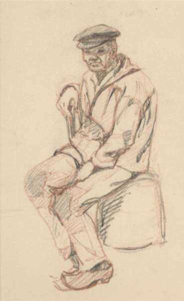 Drawing by Jan Gelb: Seated Fisherman, represented by Childs Gallery
