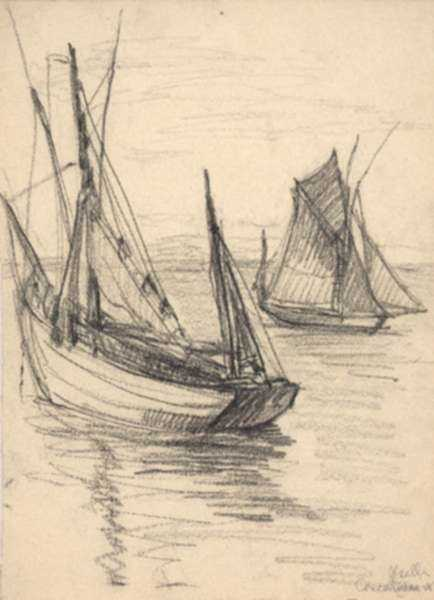 Drawing by Jan Gelb: Two Sailboats, Concarneau [France], represented by Childs Gallery