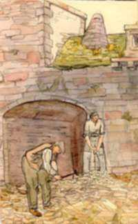 Watercolor by Jan Gelb: Workers, represented by Childs Gallery