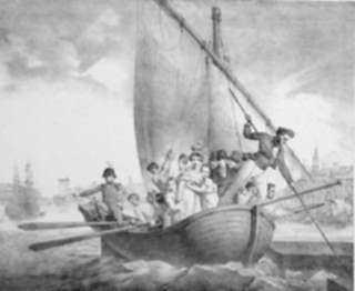Print by Jean Baptist Mauzaisse: Arrivée en France, represented by Childs Gallery