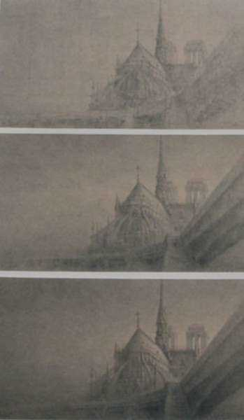 Ink wash by Jean Michel Mathieux-Marie: [Three Views of Cathedral], represented by Childs Gallery