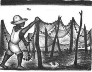 Print by Jesús Escobedo: Fisherman of Acapulco, Mexico, represented by Childs Gallery
