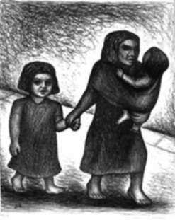 Print by Jesús Escobedo: Woman with Children, represented by Childs Gallery