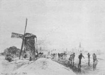 Print by Johan-Barthold Jongkind: Vue de la Ville de Maasluis, represented by Childs Gallery
