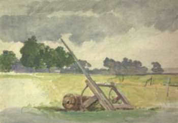 Watercolor by John Absolon: Landscape with Roller, represented by Childs Gallery
