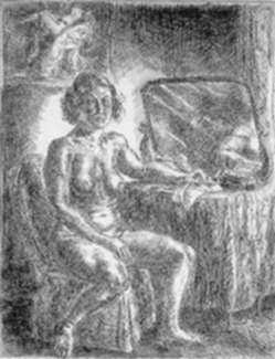 Print by John Sloan: Nude and Dressing Table, represented by Childs Gallery