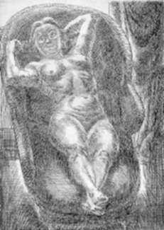 Print by John Sloan: Nude Foreshortened, represented by Childs Gallery