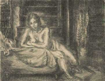 Print by John Sloan: Nude Leaning Over Chaise, represented by Childs Gallery