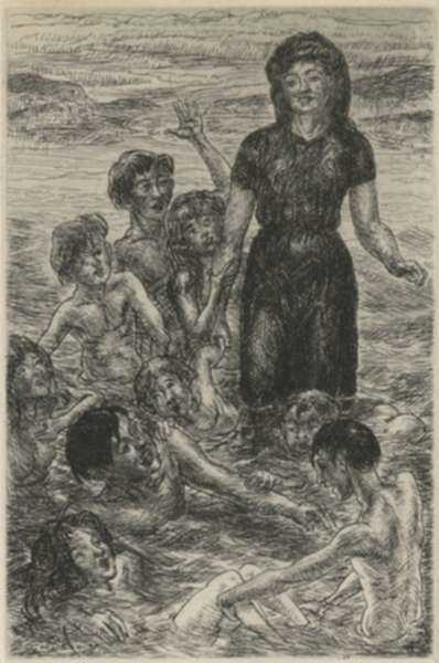 Print by John Sloan: Sally, Kids, and Philip Bathing or Of Human Bondage, Chapter, represented by Childs Gallery