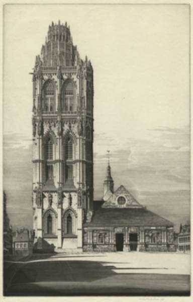Print by John Taylor Arms: Aspiration, La Madeline, Verneuil-Sur-Avre, or Fraternité, E, represented by Childs Gallery